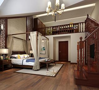 新中式卧室架子床家装模型