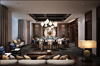 中式餐厅包房3d模型