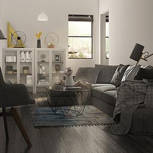 北歐客廳3d模型