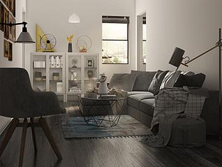 北欧客厅家装模型