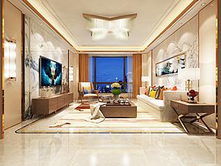 简欧风格客厅3d模型