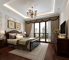 美式卧室床家具组合窗帘3D模型
