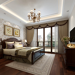 美式臥室床家具組合窗簾3d模型