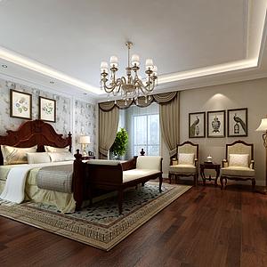 美式臥室床家具組合3d模型