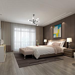 北歐現代臥室床家具組合3d模型