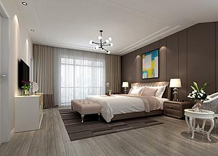 北欧现代卧室床家具组合家装模型