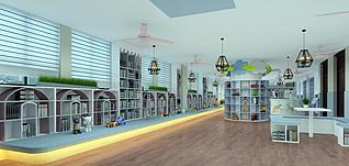 儿童图书馆工装模型