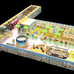 淡黃色主題樂園整體模型