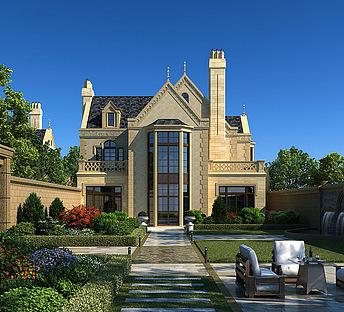 独栋别墅,室外,建筑,花园