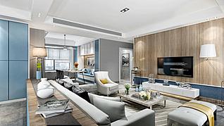 现代风格客厅家装模型