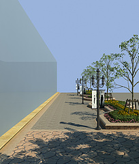 马路,路灯,路边装饰,行道3D模型