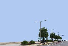 马路,路灯,路边装饰3D模型