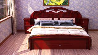 中式双人床家装模型