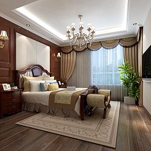 簡約美式臥室3d模型