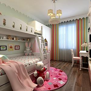 現代女孩房兒童房3d模型