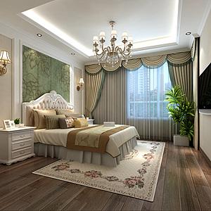 簡約歐式臥室床3d模型