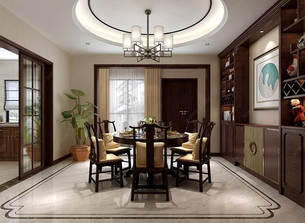中式餐厅餐桌椅酒柜吊灯