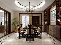 中式餐厅餐桌椅酒柜吊灯3d模型