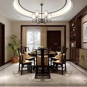 中式餐廳餐桌椅酒柜吊燈3d模型
