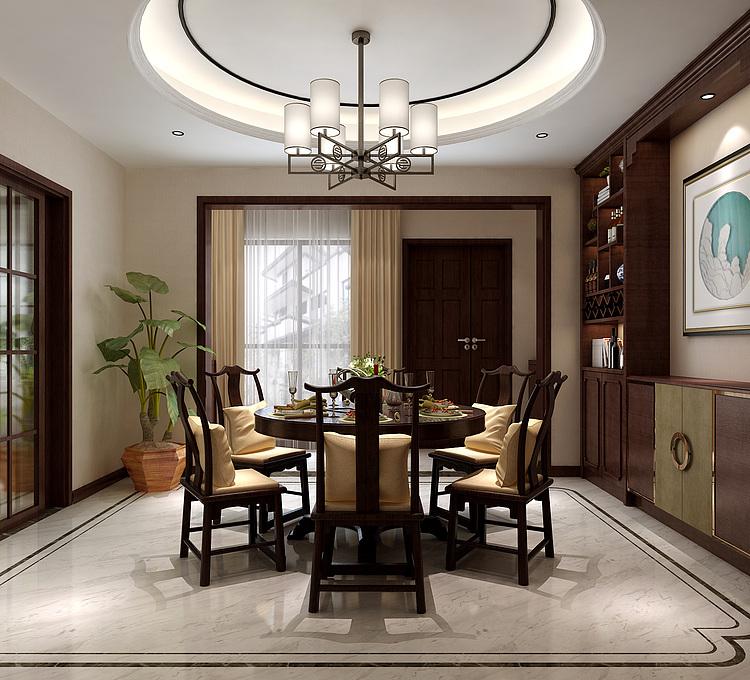 中式餐厅餐桌椅酒柜吊灯模型