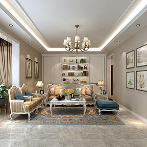 簡歐客廳沙發茶幾組合3d模型