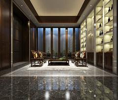 中式风格的接待室3D模型