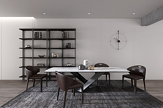 现代餐厅餐桌餐椅装饰架3d模型