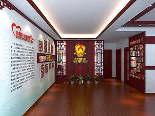 中式办公空间工装模型
