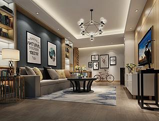 现代风格客厅家装3d模型
