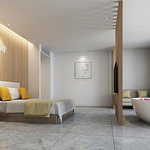 北欧酒店客房整体模型