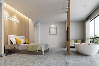 北欧酒店客房工装模型