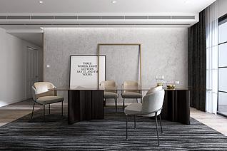 现代餐厅餐桌餐椅餐具组合3d模型