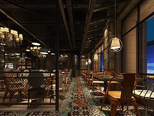 工业风餐厅工装3d模型