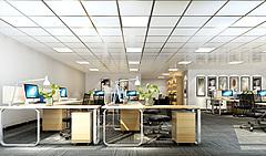 现代简约办公区前台接待3D模型