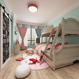 现代北欧儿童房3d模型