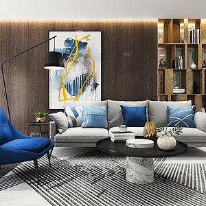 现代客厅沙发休闲椅组合3d模型