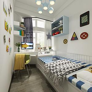现代儿童房男孩房3d模型