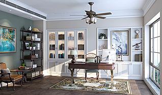 美式书房家装模型