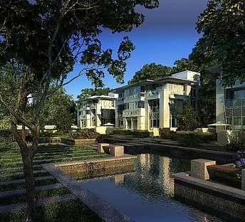 室外建筑联排别墅公园树林