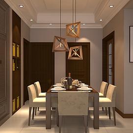中式餐厅整体模型