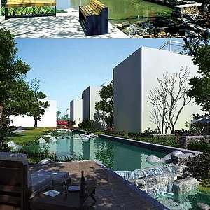室外建筑水池公园模型3d模型