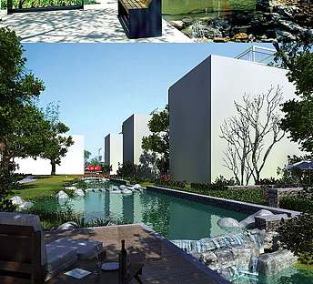 室外建筑水池公园