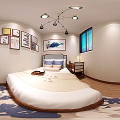新中式臥室整體模型