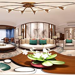 新中式客廳餐廳整體模型