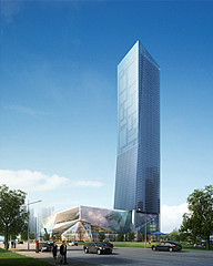 室外建筑廣場高層辦公大樓3D模型