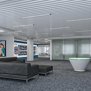 现代简约公司展厅整体模型
