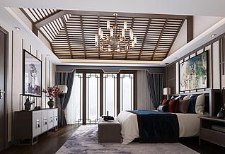 新中式卧室家装模型
