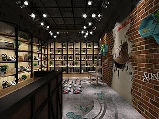 工业风鞋店3d模型