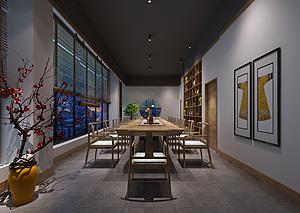 新中式茶館3d模型