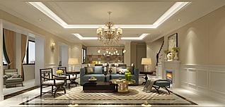 欧式风格的客厅3d模型